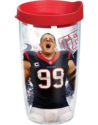 NFL Player - JJ Watt Wrap with Lid  - 16oz tumbler...I want this!!