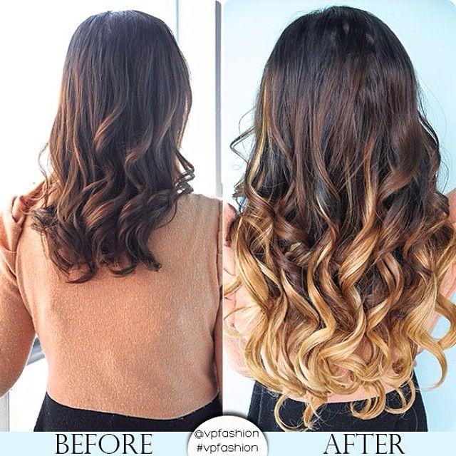 hairstyles prima dopo capelli lunghezza media con extension ombre highlights 2014