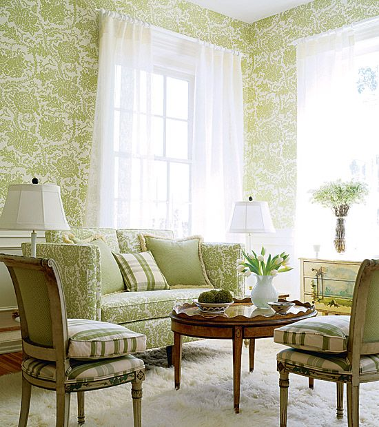 Lime Green Floral Wallpaper Ideas And Modern White Curtain With Panel Cozy Sofa Design