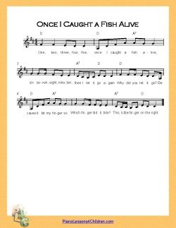 One, Two, Three, Four, Five, Once I Caught a Fish Alive - lyrics, videos & free sheet music for piano