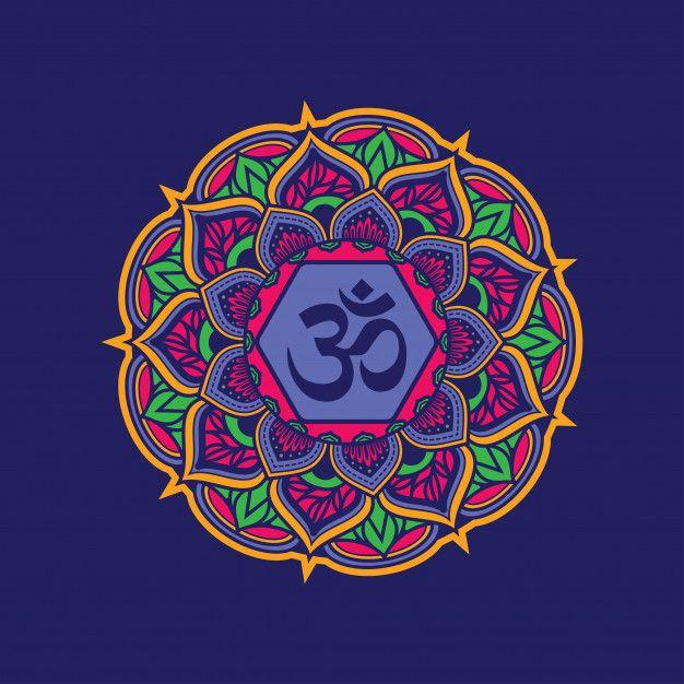 Colorful Decorative Mandala Pattern With Om Symbol Poster Prints Design Pattern Art Mandala Pattern