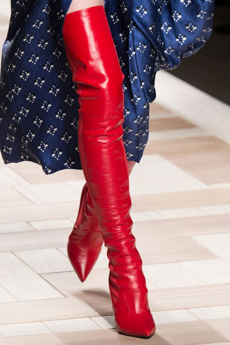 Two trends in one ... opt for over-the-knee boots in the season's hottest color. No matter what you style them with, your outfit will never be dull!  workinglook.com
