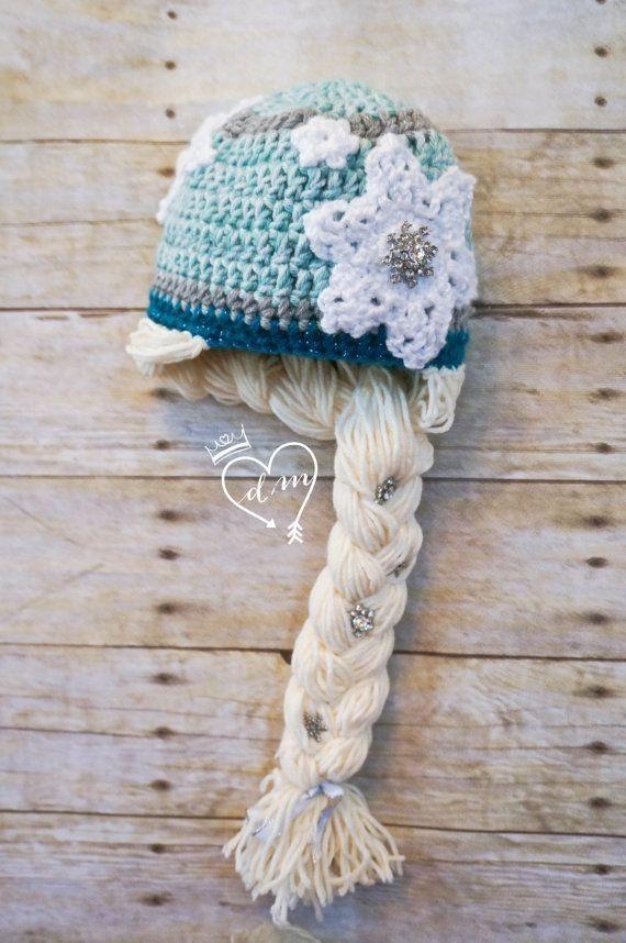 Free Knitting Elsa Frozen Snowflake Crochet Hat Pattern With Braids - Beanie Hat, Snowflake Braid