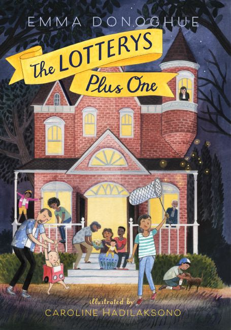 The Lotterys Plus One by Emma Donoghue is out March 28th! Internationally bestselling author Emma Donoghue's first children's book follows the domestic adventures of a large, rumbustious, multicultural family. The Lotterys, as they call themselves, are headed up by a lesbian couple and a gay couple who joined forces to create a family, won a lottery jackpot and moved into a Victorian Gothic mansion in Toronto, where their enormous brood is home-schooled.