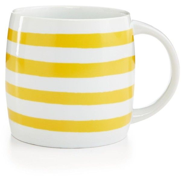 Whim by Martha Stewart Collection Mugs Collection Yellow Stripe Mug, (£5.60) ❤ liked on Polyvore featuring home, kitchen & dining, drinkware, yellow, martha stewart, striped mug, yellow mugs and stripe mug