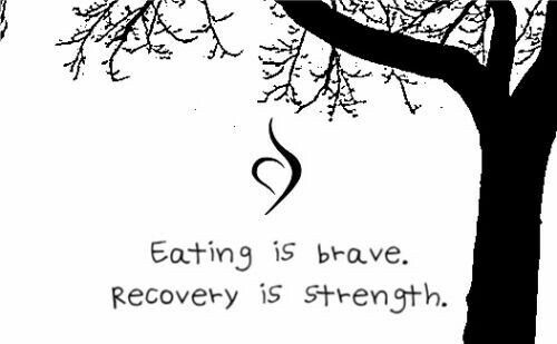 Eating Disorder Recovery.  Eating is brave. Recovery is strength.