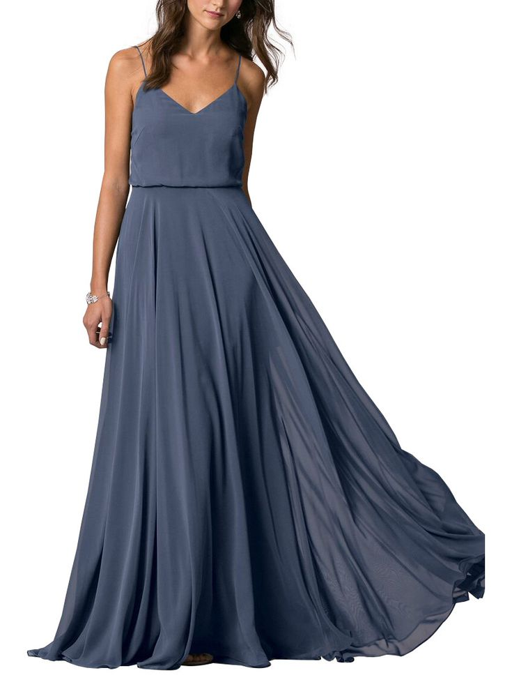 DescriptionJenny Yoo InesseFull length bridesmaid dressVneckline with delicate spaghetti strapsBlouson bodice hits at natural waist Straps meet at center backFull circle skirtLuxe Chiffon