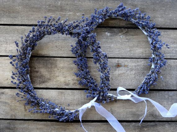 Dried Lavender Bridal Flower Crown Handmade of Dried Hidecote Lavender.  Perfect for a Natural or Country Wedding or Special Gift! This Rustic