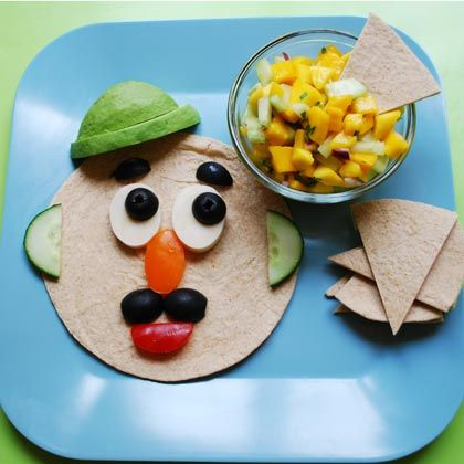 Kids will get a kick out of creating this familiar face using pre-cut veggies and a whole-wheat tortilla. When you add a kicky salsa on the side, the combination is out of this world!