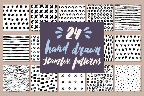 24 Hand Drawn Seamless Patterns by Type and Graphics Lab on @creativemarket