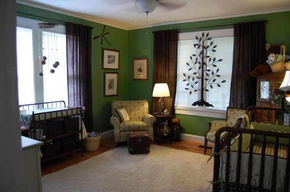 love the colors even if it is darker: Colors Combos, Natural Colors, Brown Nurseries, Boys Rooms, Colors Green, Green Colors, Metals Trees, Cutest Boys, Nurseries Rugs