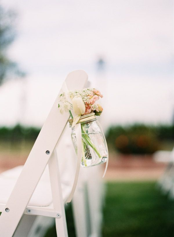 hanging out.: Decor Wedding, Decoration, Ceremony Decor, Ceremony Flowers, Aisle Flowers, Flowers Ideas, Mason Jars, Flowers Decor, Wedding Chairs Decor