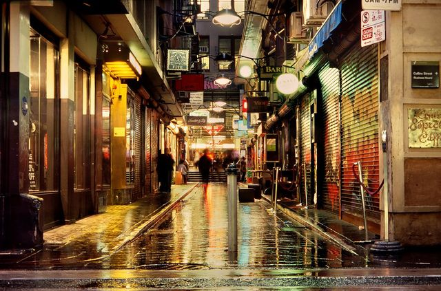 City lane, in the rain Melbourne Australia by mugley