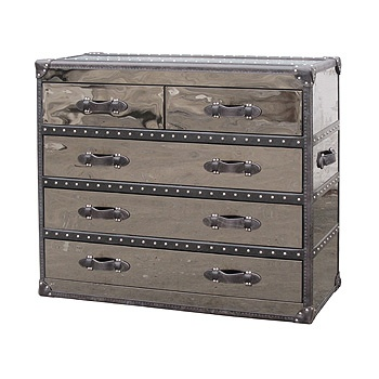 Silver Black Leather Steamer Trunk 5 Drawer Dresser