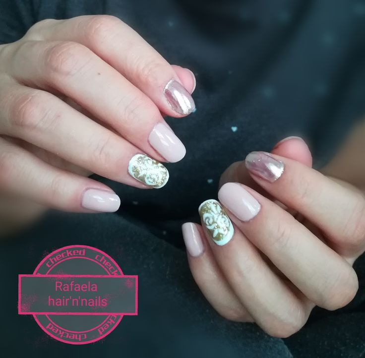 nude nails, mirror effect, gold glitter, roses