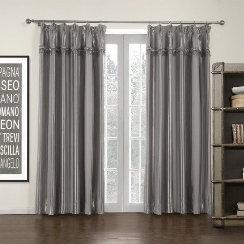 Double Pleated Grey Stripe Mordern Room Darkening Curtain Suits Window 47 62 Wide 84 Drop