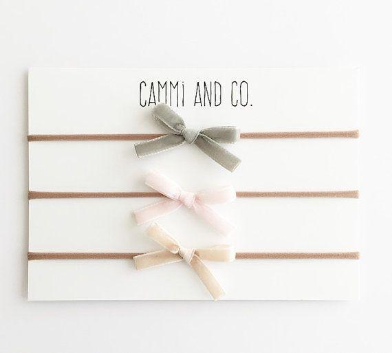 Velvet baby bow on nylon headband choose colors by CammiandCo