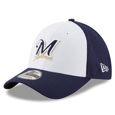 Milwaukee Brewers New Era Road Diamond Era 39THIRTY Flex Hat - White/Navy