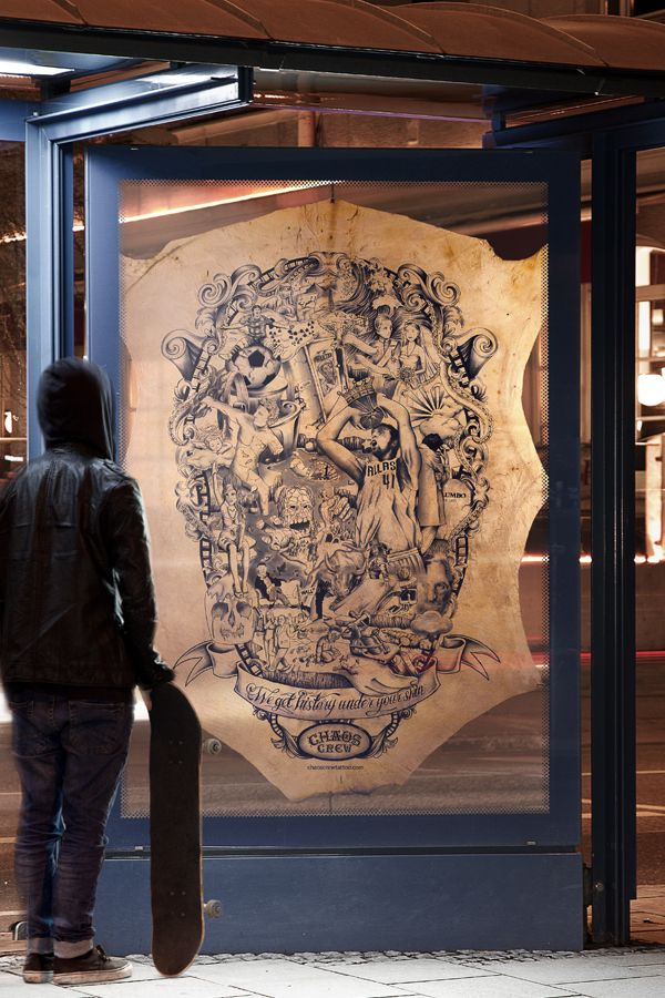 """The Tattooed Poster   """"Chaos Crew Tattoo Studio – we get history under your skin."""""""