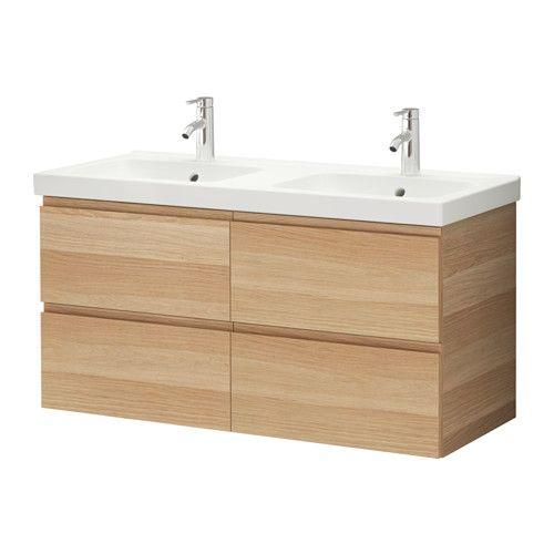 IKEA - GODMORGON / ODENSVIK, Meuble lavabo 4tir, effet chêne blanchi, , Garantie 10 ans gratuite. Détails des conditions disponibles en magasin ou sur internet.Tiroirs faciles à ouvrir avec arrêt.Vous pouvez facilement modifier la taille du casier en déplaçant le séparateur.Les tiroirs s'ouvrent entièrement pour une bonne visibilité et un  accès au contenu plus aisé.Tiroir en bois massif, avec fond en mélamine résistant aux rayures.Ce lavabo à deux bacs peut être utilisé par deux personnes…