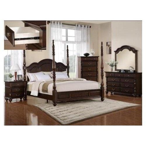 6pcs Georgia Tall Post Queen Size Bedroom Furniture Set