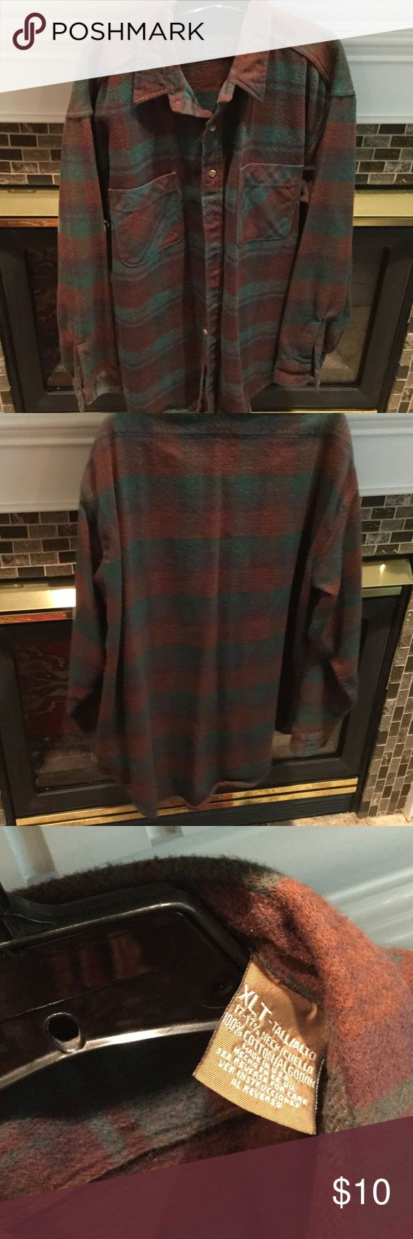 XL Tall Brown & Green Flannel Shirt-Great Cond. Men's XL Tall Brown & Green Flannel Shirt-I'm not sure of the brand-Could be worn as a shirt or as a shirt jacket-Great Condition-from a smoke free home Shirts Casual Button Down Shirts