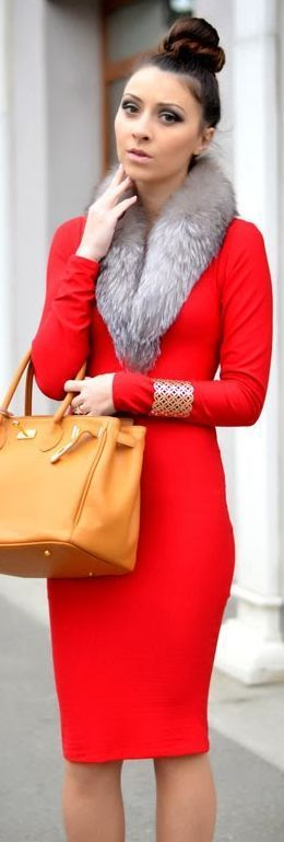 Great street style red dress, fake fur shrug and Hermes Birkin bag in tan - Fashion Jot- Latest Trends of Fashion