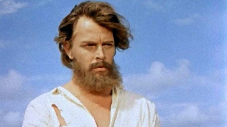 "Dan O'Herlihy in the title role of the 1954 film ""Robinson Crusoe."""