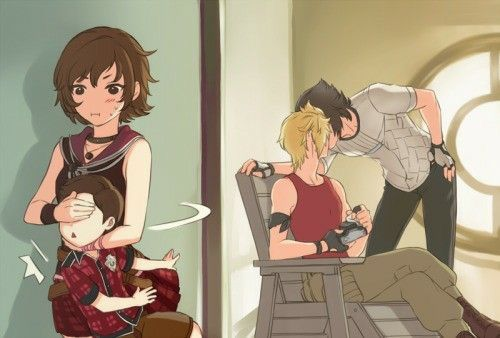 Oh no, naughty boys, there are kids there   Iris, Talcott, Prompto
