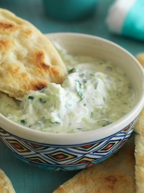 Tatziki (Greek yogurt with grated cucumbers and fresh mint) and pita