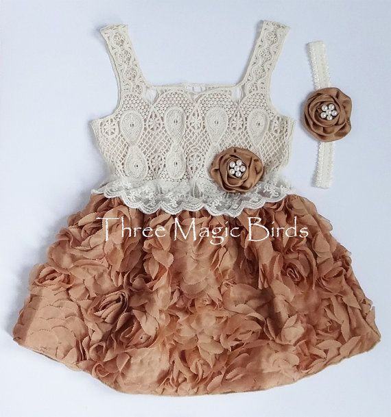Girl LIGHT BROWN Lace Dress & Matching Headband INCLUDED Set,Girl Lace Dress,Toddler Ivory Lace Dress,Birthday Outfit,Flower Girl Lace Dress...