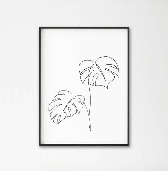 Monstera art en ligne, Tropic feuilles imprimé, plantes botaniques abstraits murale décor, art minimaliste, chambre moderne, wabi sabi imprimable muraux