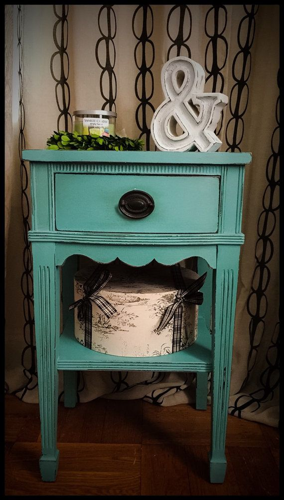 Vintage Hand Painted Nightstand In Annie By