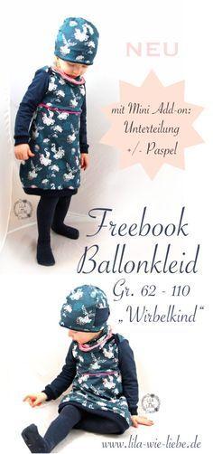 """Ballonkleid für Kinder nähen – Freebook """"Wirbelkind"""" Gr. 86-110"""