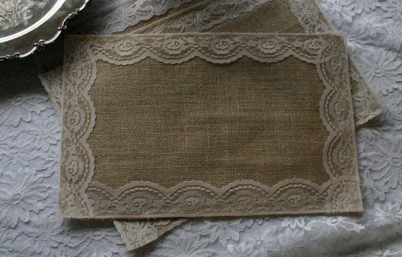 Burlap and lace table place mats by Bannerbanquet on Etsy, $5.00