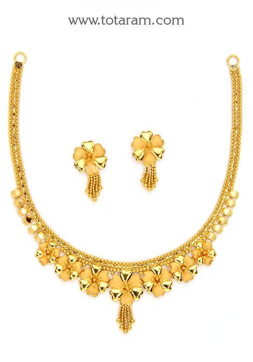 22K Gold Necklace & Earrings Set