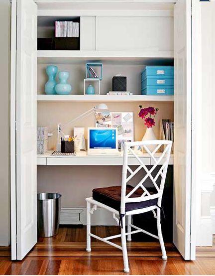 Cute idea for my next apt!! [Tiny Apartment Closet - coat closet turned office. Love!]