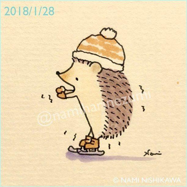 1395 #スケート #skating #illustration #hedgehog #イラスト #ハリネズミ #なみはりねずみ