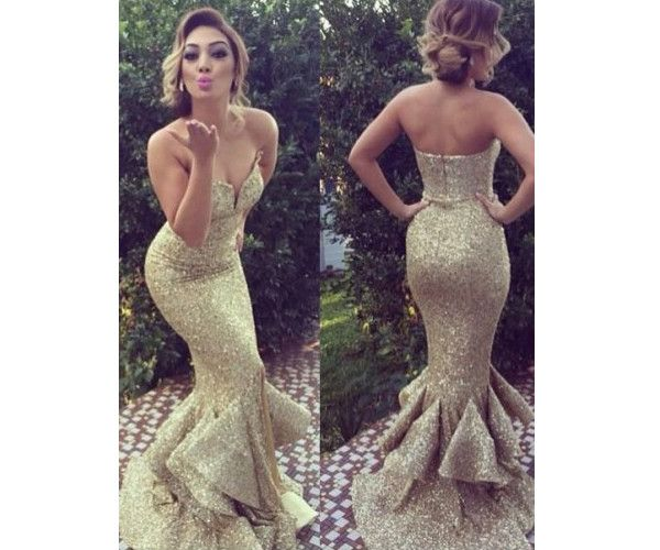long prom dress, gold sequin prom dress, sparkle prom dress, mermaid prom dress, charming prom dress, sweetheart prom dress, 141509