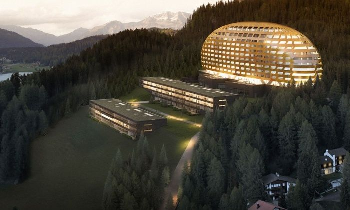 """With a facade described as """"unbuildable"""", the Davos Hotel in Switzerland is a stunning, hive like structure in the Alps. Munich based architects OIKOS used 62,000 individual pieces to put together the unique curved exterior. <a href=""""http://www.ihg.com/intercontinental/hotels/gb/en/davos-dorf./zdvda/hoteldetail"""">ihg.com</a>"""
