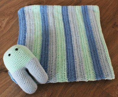 Stripe Crochet Baby Blanket Handmade with Amigurumi