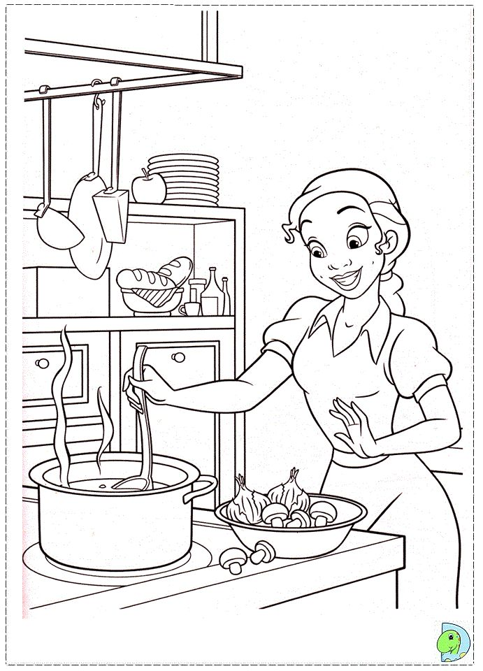 The Princess And Frog Coloring Page