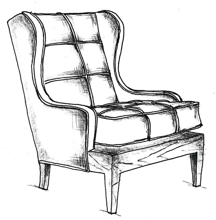 chair drawing. chair no. one eighty, initial sketch drawing 4