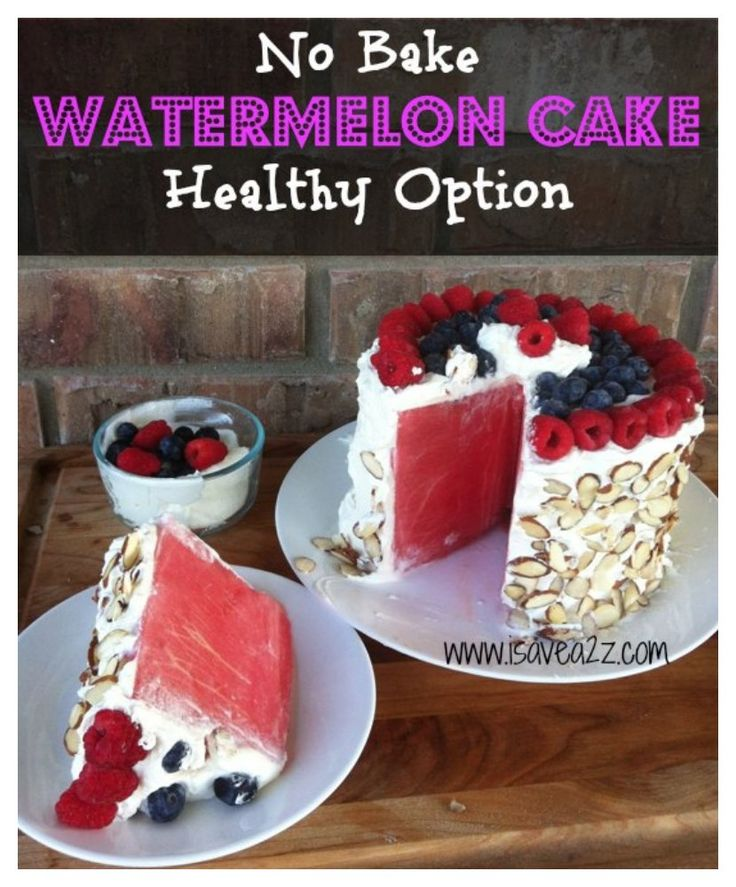 Watermelon Cake made with whipped cream, blueberries, raspberries and sliced almonds!  Perfect for those trying to cut calories!!  iSaveA2Z.com