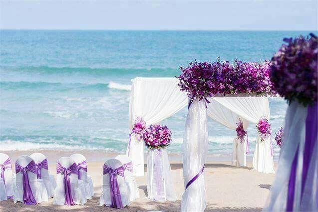Purple wedding beach