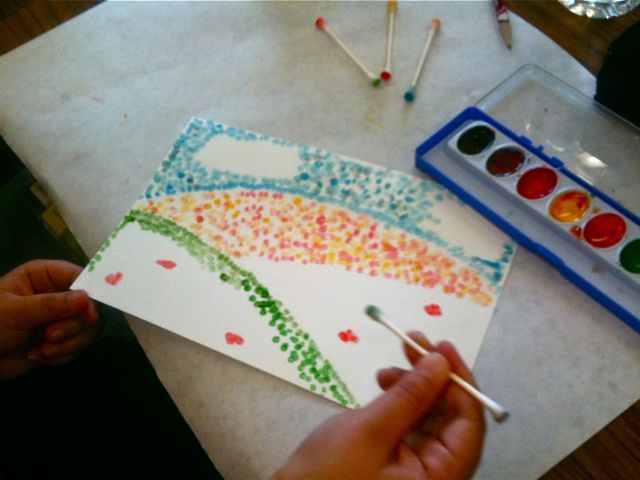 Pointillism - only we used q-tips, pencil eraser ends, paintbrush ends, pencil…