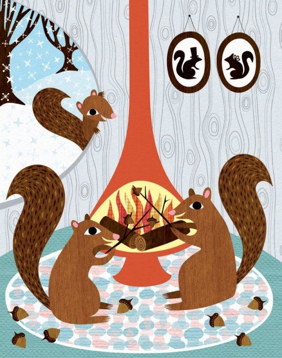 Items Similar To Squirrels Roasting Acorns   Childrens Room Decor    Archival Art Print Poster   Nursery Decor   Winter Squirrel On Etsy Design Inspirations