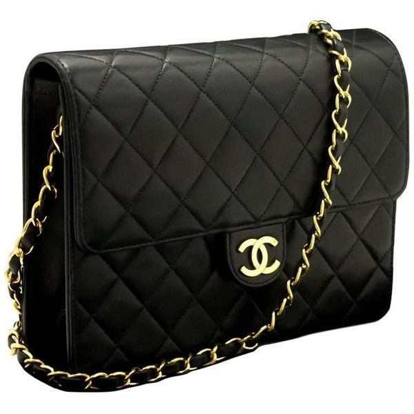 Chanel Chain Shoulder Bag Clutch Black Quilted Flap Lambskin 1 395 Liked On Polyvore Featuring Bags Handbags Clutches Qu