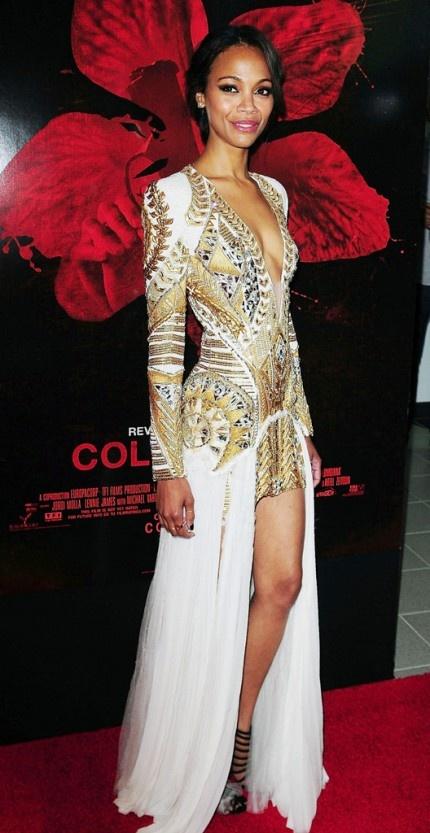 Zoe Saldana in Balmain.
