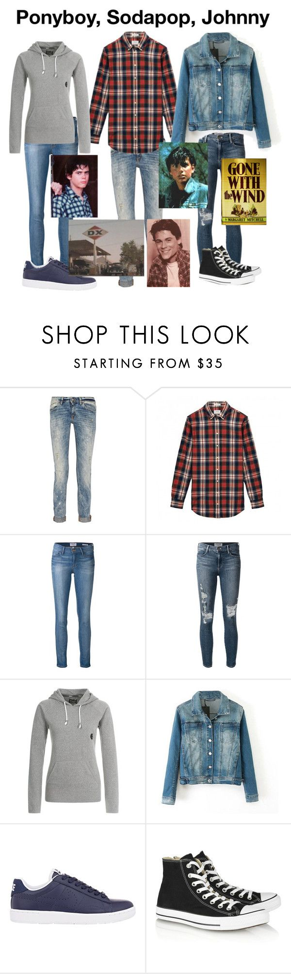 """""""The Outsiders-Ponyboy Curtis, Sodapop Curtis, Johnny Cade"""" by thefeels1456 ❤ liked on Polyvore featuring Just Cavalli, Frame Denim, Billabong, NIKE, Converse, women's clothing, women, female, woman and misses"""